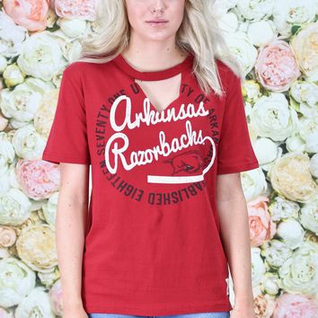 Arkansas Razorbacks Choker Cut Out Tee {Deep Red}
