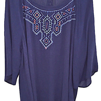 Plus Size Embroidered Woven Top