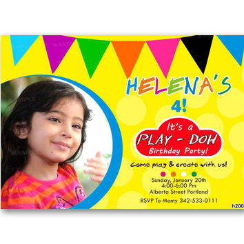 Play Doh Play Dough Inspired Kids Birthday Invitation Party Design