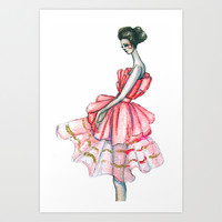 Dior Couture 2008 // Fashion Illustration Art Print by Paper&Ink