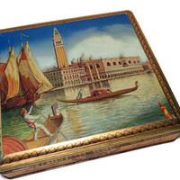 Cookie Tin . Keepsake Box . Blue and Gold Biscuit Tin with Venice View . Old Trinket Box .