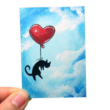 Black Cat Art, Original ACEO Art Card, Red Balloon, Acrylic Painting, Heart Balloon, I Love You, Miniature Painting, Pet Memorial