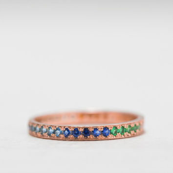 Rose Gold Eternity ring Sapphire - Emerald - Amethyst - Blue Topaz - Citrine - Ruby - Garnet - Tanzanite - Peridot - rainbow
