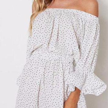 White Polka Dot Pattern Off Shoulder Long Bell Sleeve Mini Dress