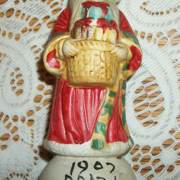 Brazilian Santa Claus Figurine Red White Green Ceramic Bisque Hand Painted Collectible Christmas Holiday Decoration