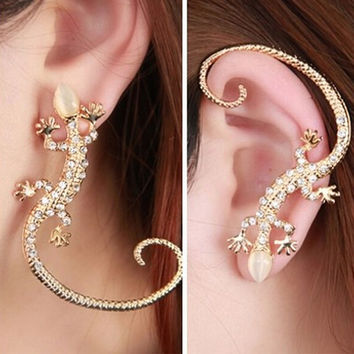 1 PC 2016 Fashion Rhinestone Ear cuff Earrings luxury Elegant rose gold exaggerated gecko lizards and snake Stud Earrings