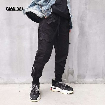 men high streethip hop elastic waist casual cargo pant women male loose harem pant jogger trousers sweatpants