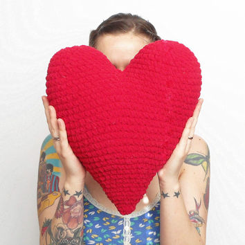 Large Plush Crochet Heart Accent Pillow in Red, ready to ship.