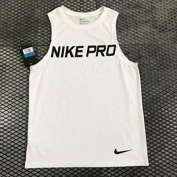 Nike Pro summer new quick dry sports men's vest logo monogram printed casual simple collarless T-shirt