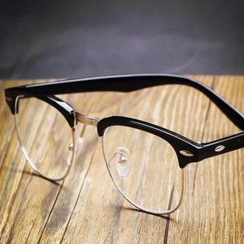 CREYON Day First Black Vintage Inspired Classic Horned Rim Half Frame Clear Lens Glasses