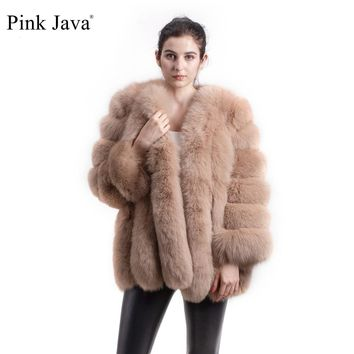 pink java QC8128 2017 new arrival FREE SHIPPING  women winter real fox fur coat  hot sale big fur long sleeve