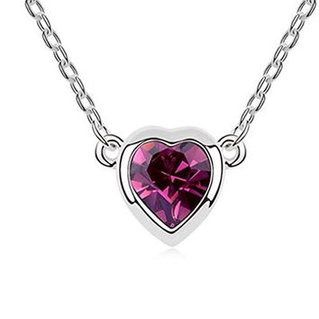 Modogirl Swarovski Elements Crystal Sweet Lover Moods Heart Pendant Necklace purple