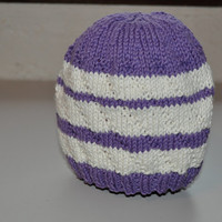 Knit Baby Beanie Hand Made Hat Baby Girl Boy Striped Purple White