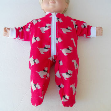 """Bitty Baby Clothes  handmade for 15"""" or Twin or Girl Doll or Boy Pajamas Pjs Sleeper Flannel Red Scotty Dog Puppy"""