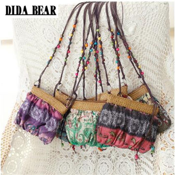 DIDA BEAR 2017 New Boho Bohemia Exotic Floral Straw Weave Strap Cloth Handbag Beach Messenger Bag Small Crossbody Bags Red Blue