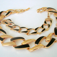 1980s Napier Retro Modernist Black Enamel Demi Parure * Necklace * Bracelet * Designer Signed * Gold Tone * Vintage Jewelry
