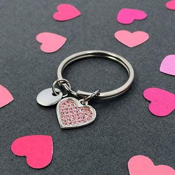 Heart Sterling Silver Keychain, Initial Charm Keychain, Pink Heart Keychain, Valentines Gift for her