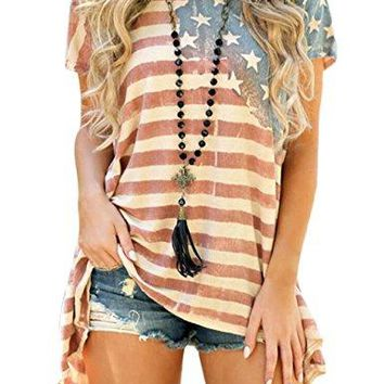 Aifer Womens American Flag Striped TShirts 4th July Short Sleeve Loose Blouse USA Flag Tops
