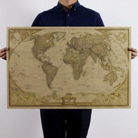 new home decor Large World Map Kraft Paper Paint vintage Wall sticker poster living room art crafts maps bar cafe decor XD2740