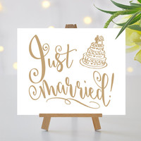 Just Married Sign - 8 x 10 sign - Printable sign in Love Letter gold - PDF and JPG files - Instant Download