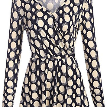 Zeagoo Women's Polka Dot Long Sleeve Front Faux Wrap Top Blouse