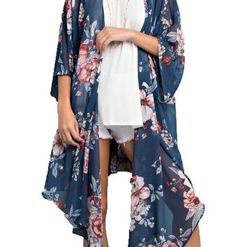 DCCKAB3 143 Story by Line Up Long Floral Print Chiffon Blue Cardigan
