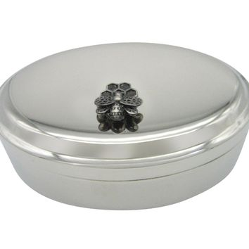 Bee and Bee Hive Pendant Oval Trinket Jewelry Box