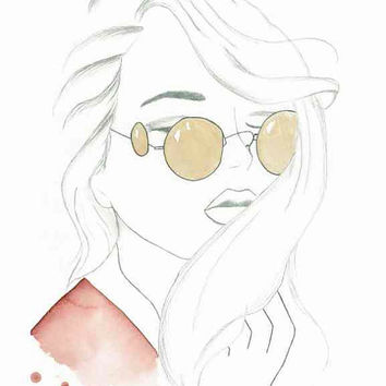 Retro Side Views - Print of original watercolor and pencil fashion illustration by Lexi Rajkowski, Home decor, Wall art
