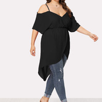 Open Shoulder Split Hem Top