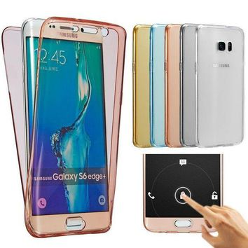 ICIKHY9 Front Back Clear Case For Samsung Galaxy A3 A5 A7 2016 A310 A510 A710 S6 S7 Edge Note 5 Full Protective Fundas For iphone 6 Plus