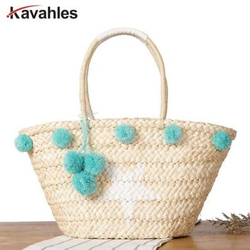 New Summer Beach Handbag Women Star Shopping Tote Handmade Woven Travel Shoulder Bags Purse Bolsa Bohemian Straw Bag LW-88