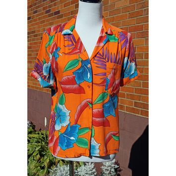 Vintage Women's Hawaii Shirt, Floral, Orange, Blue, Red, Collar, Button down, Short Sleeve, Beach, Vacation, Spring Break