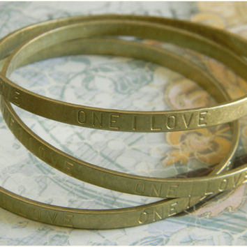 Raw Brass One I Love Sentiments Bangle Bracelet - 1 pc.