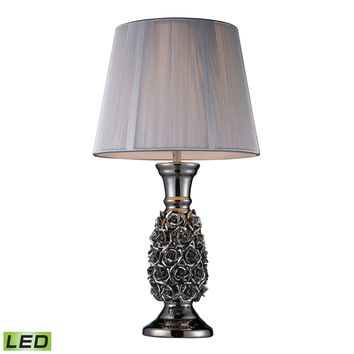 D1447-LED Roseto LED Table Lamp In Alisa Silver With Silver String Shade - Free Shipping!