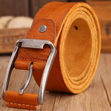 hot designer belt men high quality luxury 100% real cowhide full grain genuine leather camel cowboy 3.8 cm masculine soft