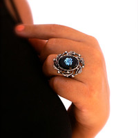 Cameo Ring Blue Rose on Black Glass Vintage Ornate Antiqued Silver Tone Adjustable Ring