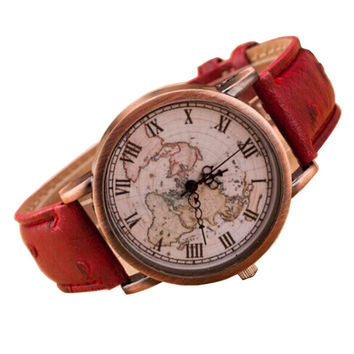 Vintage World Map Watch Fashion Leather Alloy Women Dress Casual Analog Quartz Wrist Watch  Clock Gift