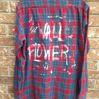 "Plaid flannel ""Wall Flower"" hand bleached shirt // soft grunge"