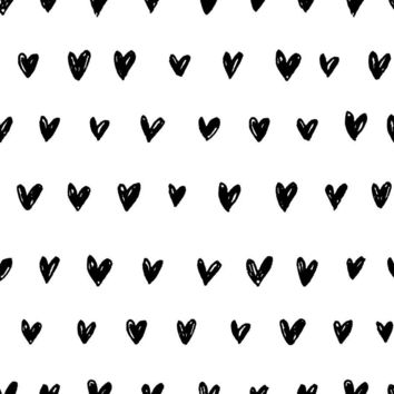 Inked Hearts | Black Wallpaper