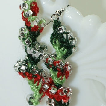 Crocheted Christmas Red Green and White Beaded Helix Spiral Earrings