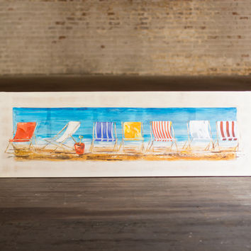 Oil Painting- Beach Chairs