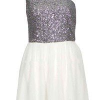 One Shoulder Chiffon Dress with Silver Sequin Top