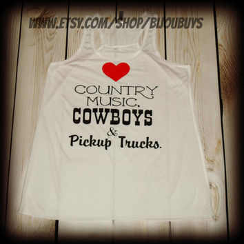 Country Music Cowboys and Pickup Trucks -- Country Girl -- Racerback Tank Top- Sizes S-XL. Other Colors Available