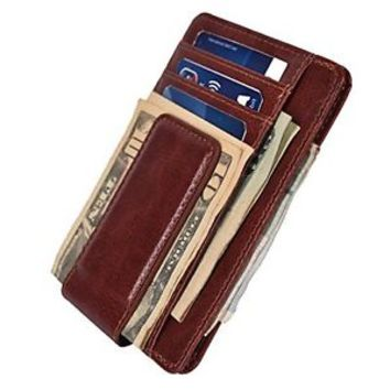 Mens Leather Money Clip Slim Wallets Front Pocket Magnetic ID Credit Card Brown