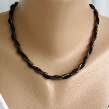 Antiqued Goldtone Serpentine Chain Necklace Double Strand Japanned Jewelry