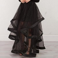 Maxi Skirt Black Mesh Patchwork See-Through Skirts Fashion Party Beach Palace Gothic Maxi Skirts