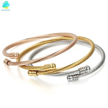 BONISKISS Rose Gold Tone Stainless Steel Triple Three Stackable Cable Wire Twisted Screw Nail Cuff Bangle Bracelets Adjustable