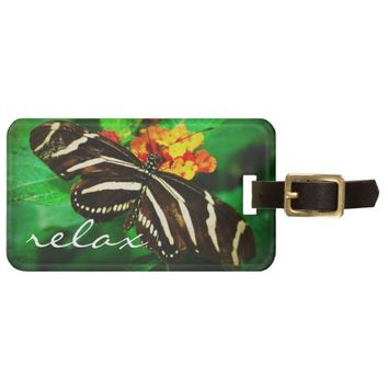 """Relax"" black white butterfly photo luggage tag"