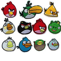 Angry Birds Embroidered Iron/sew on Patch Cloth Applique Set of 11 (Angry Birds)