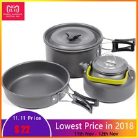 Outdoor Camping Cookware Hiking Picnic Tableware Backpacking Pot Pan Outdoor Cooking Set Tourism Tableware Frying Pan Kettle